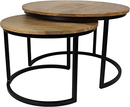 HSM Collection Juego de Mesa Ronin Juego Central de 2, Madera, Natural Top/Negro Metal, 60 x 60 x 45 cm: Amazon.es: Hogar