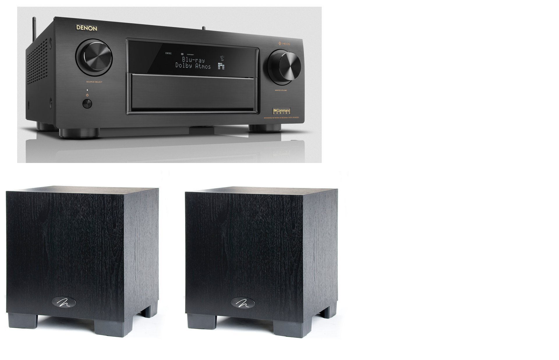 Denon AVR-X6400H 11.2 Channel A/V Receiver with HEOS And QTY: 2 Martin Logan Dynamo 300 8'' Powered Subwoofer Bundle by MartinLogan