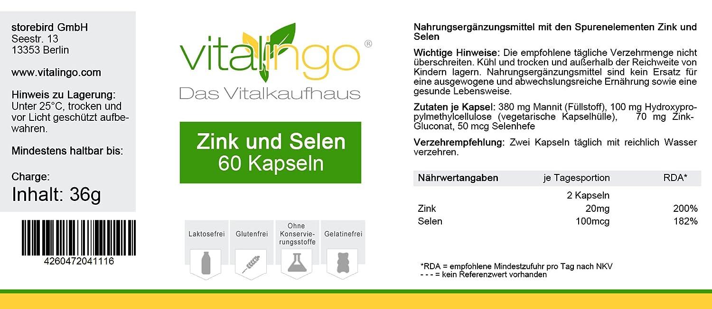 Zinc Selenio cápsulas - 60 zinc et selenio cápsulas á 600mg con ...