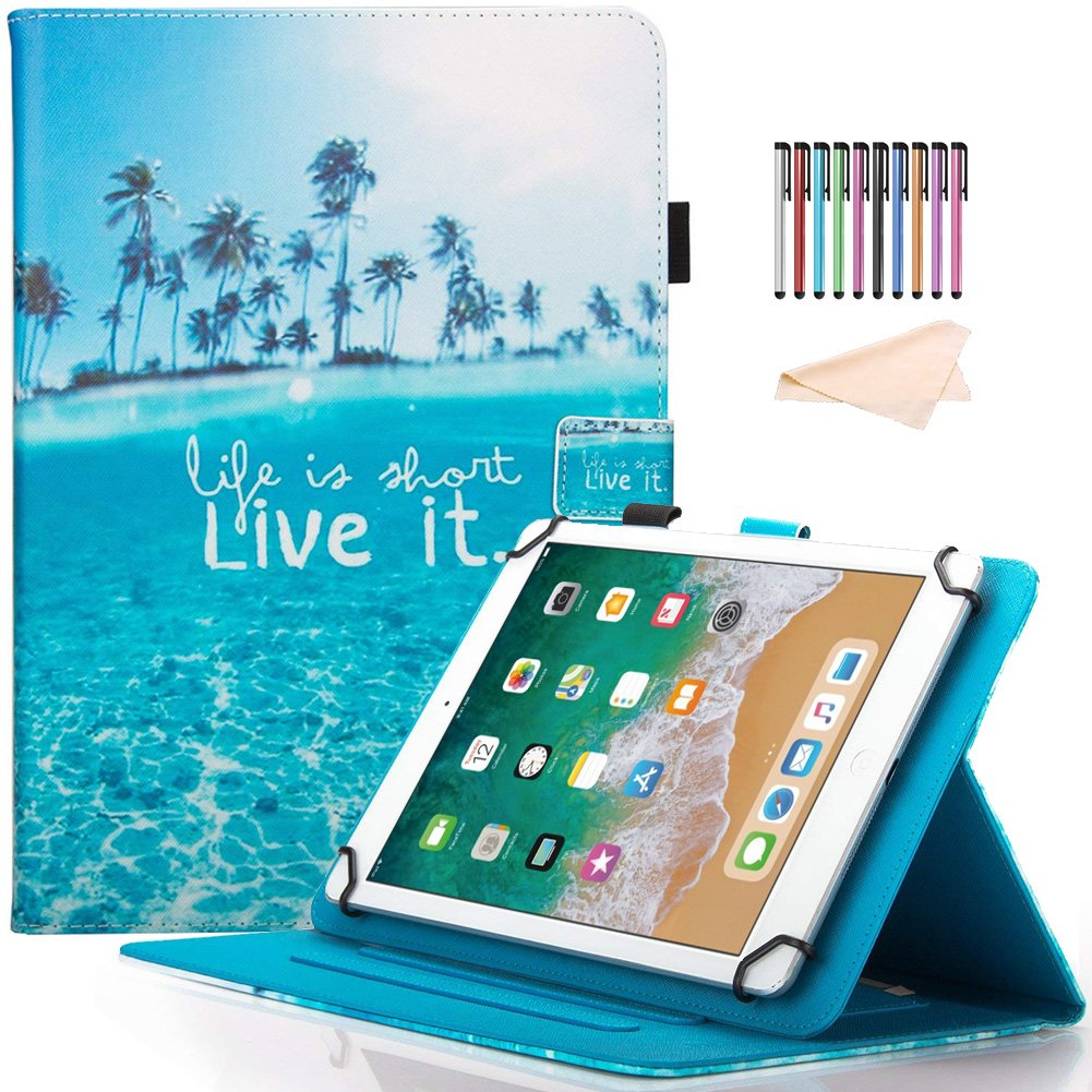 8.0 inch Tablet Case, Universal Protective Lightweight PU Leather Case Cover for All 7.5-8.5 inch iPad Mini 1 2 3 4,Samsung Galaxy Tab A 8.0/Tab E 8.0, Amazon Fire HD 8, Android IOS Tablet, Live It