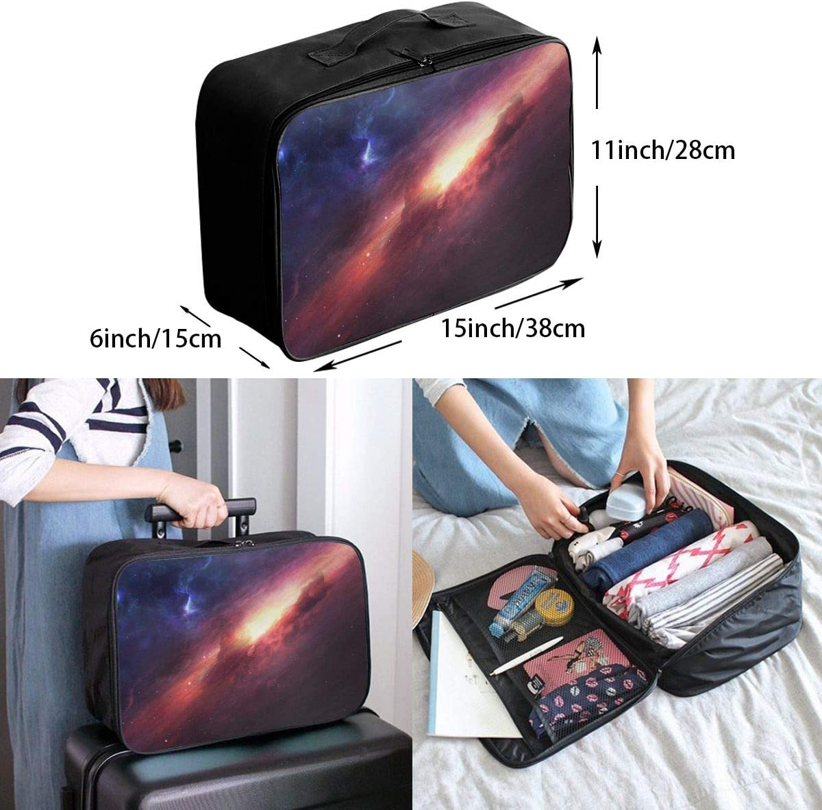 Universe-stars Travel Carry-on Luggage Weekender Bag Overnight Tote Flight Duffel In Trolley Handle