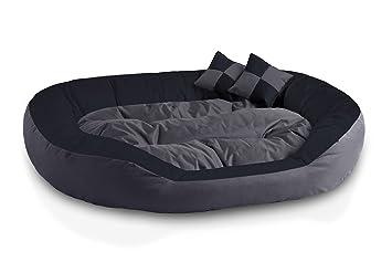 BedDog 4en1 Saba Antracita/Gris XXL Aprox. 110x80cm colchón para Perro, 7 Colores, Cama, sofá, Cesta para Perro
