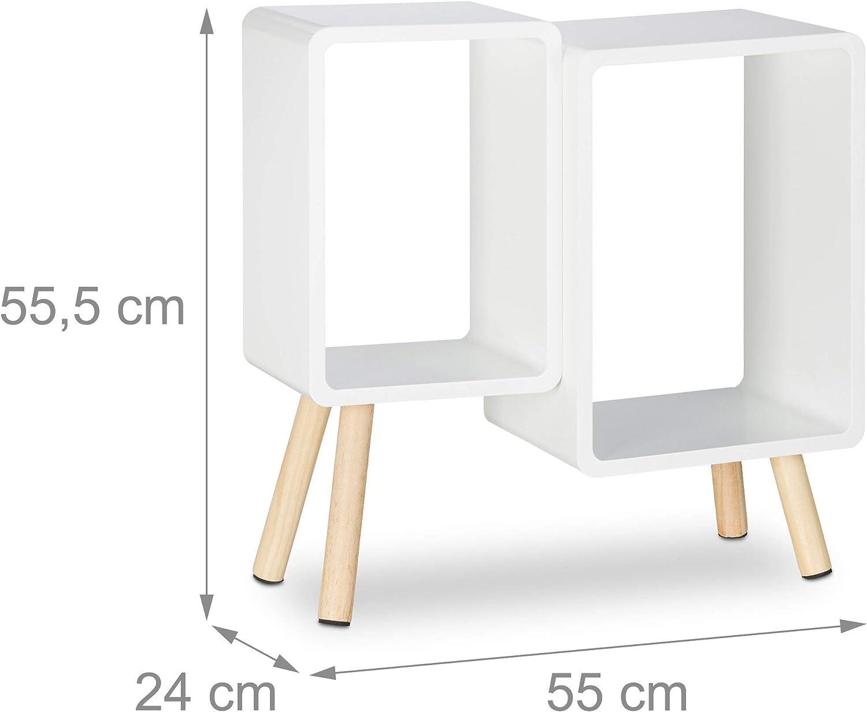 Blanc /Étag/ère 2 Cubes carr/és biblioth/èque Bois MDF 4 Pieds Commode Tablette HxlxP Relaxdays 55,5 x 55 x 24 cm