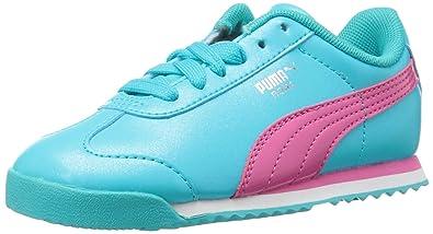 7c2762317d96 PUMA Kids  Roma Basic Glitter INF Sneaker Blue Atoll Fandango Pink 4 M US