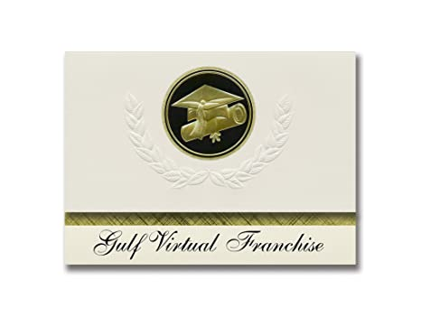 Review Signature Announcements Gulf Virtual Franchise (Port St Joe, FL) Graduation Announcements, Presidential style, Elite package of 25 Cap & Diploma Seal Black & Gold