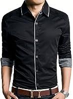 (アザブロ)AZBRO メンズ 長袖ワイシャツ 綿高率 ゴージャス 純色 長袖 ボタンアップ シャツ豊富な5サイズ