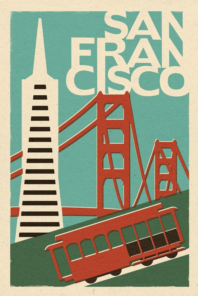 サンフランシスコ、カリフォルニア – Woodblock 16 x 24 Signed Art Print LANT-47249-709 B07B292RW7 16 x 24 Signed Art Print16 x 24 Signed Art Print