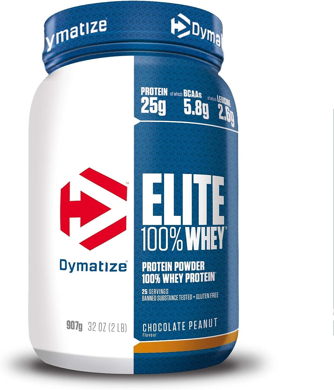 Dymatize Elite Whey Chocolate Peanut 907g, Pulverizador de adecuada Poteína y Baja Azúcar + Proteína de Suero y BCAA