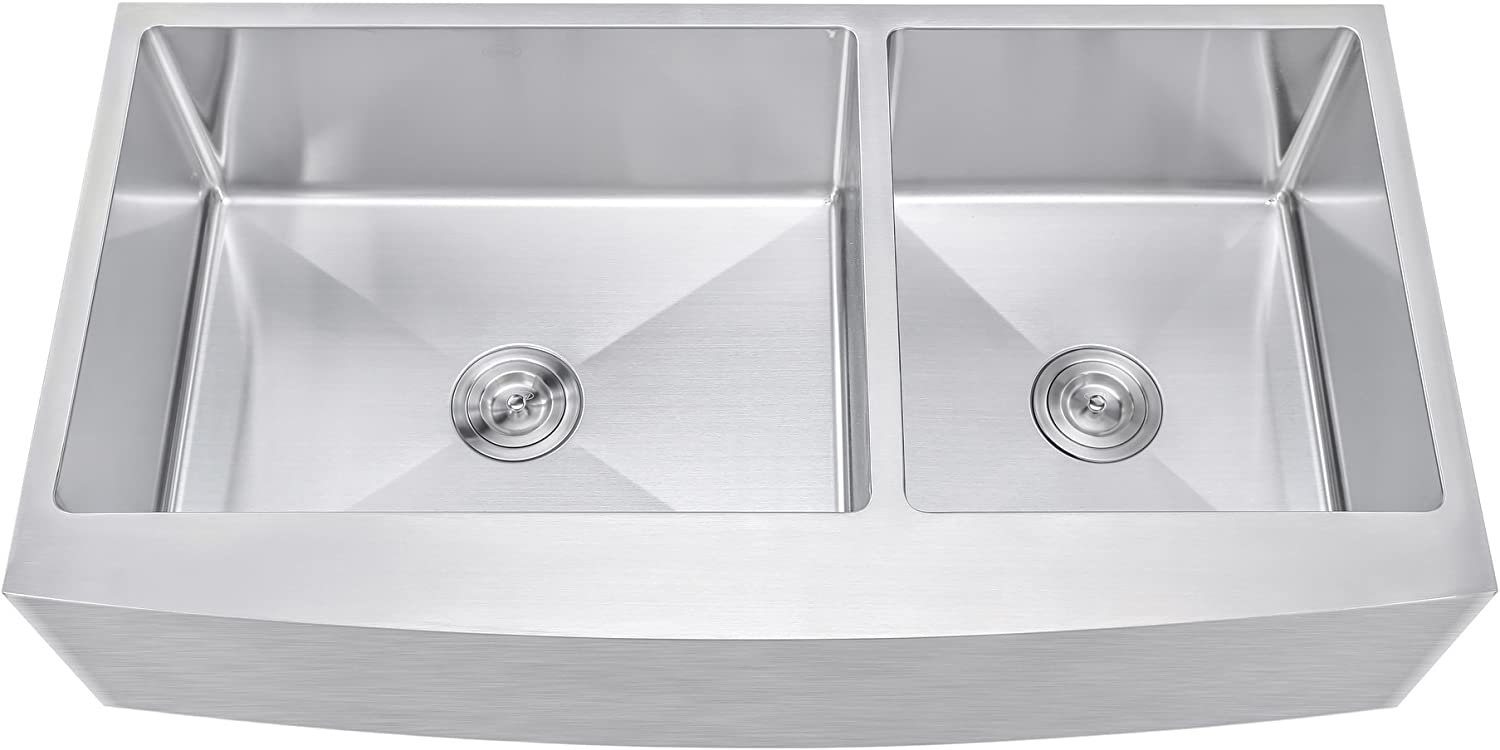 42 Inch 60 40 Offset Double Bowl Farmhouse Apron Front Stainless Steel Kitchen Sink – 15mm Radius Coved Corners
