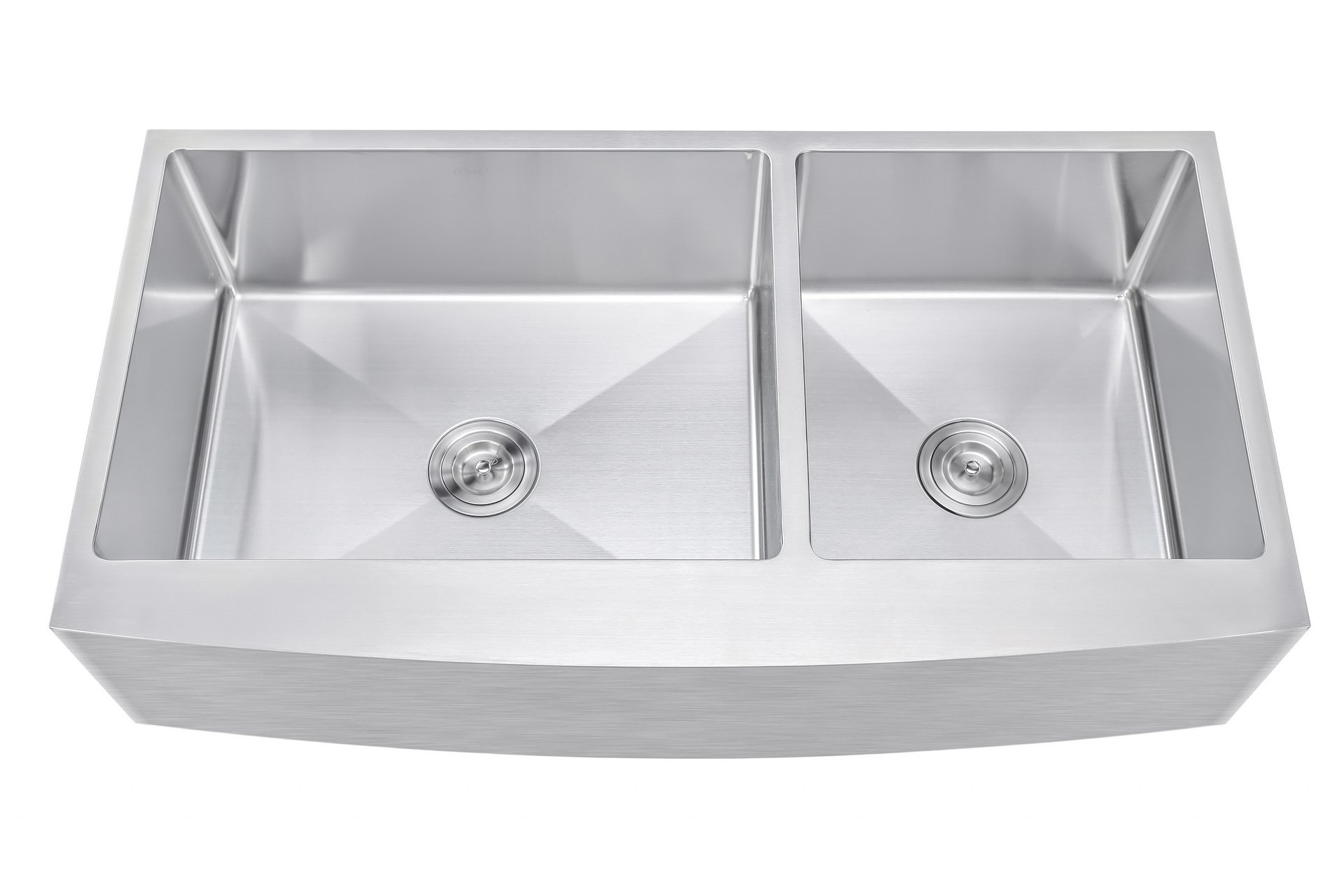 42 Inch 60/40 Offset Double Bowl Farmhouse Apron Front Stainless Steel Kitchen Sink - 15mm Radius Coved Corners