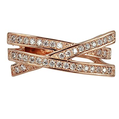 Buy Zohar Rose Gold CrissCross Ring 6 0 line at Low Prices in