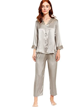 48aeb967ad SheIn Women's Lace Trim Button-Down Satin Sleepwear with Pants Pajamas Sets  Champagne Medium