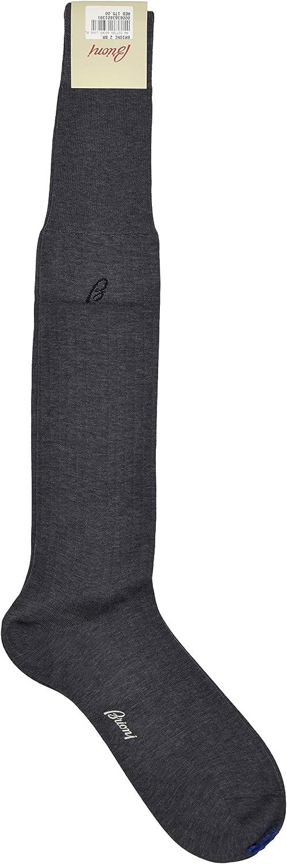 Brioni Men's Charcoal Gray Long Tall Cotton Ribbed Knit Socks