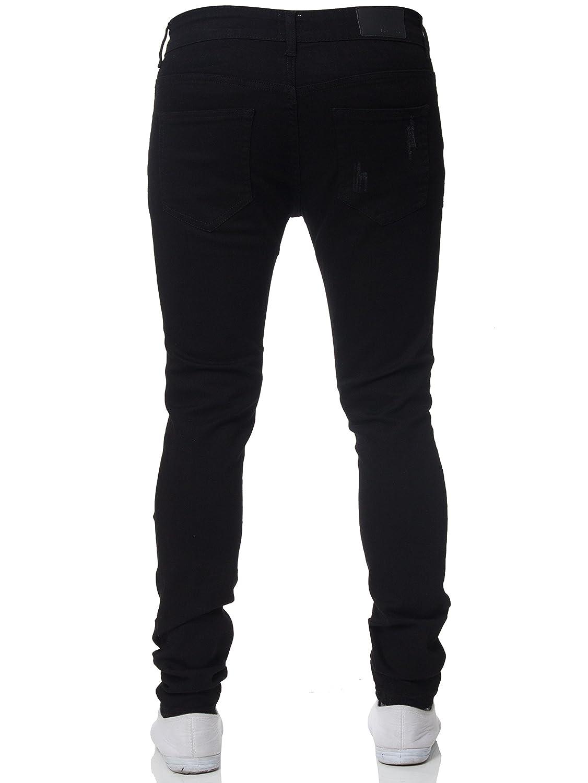 New ENZO Mens Super Skinny Jeans Stretch Ripped Denim Distressed Denim Pants