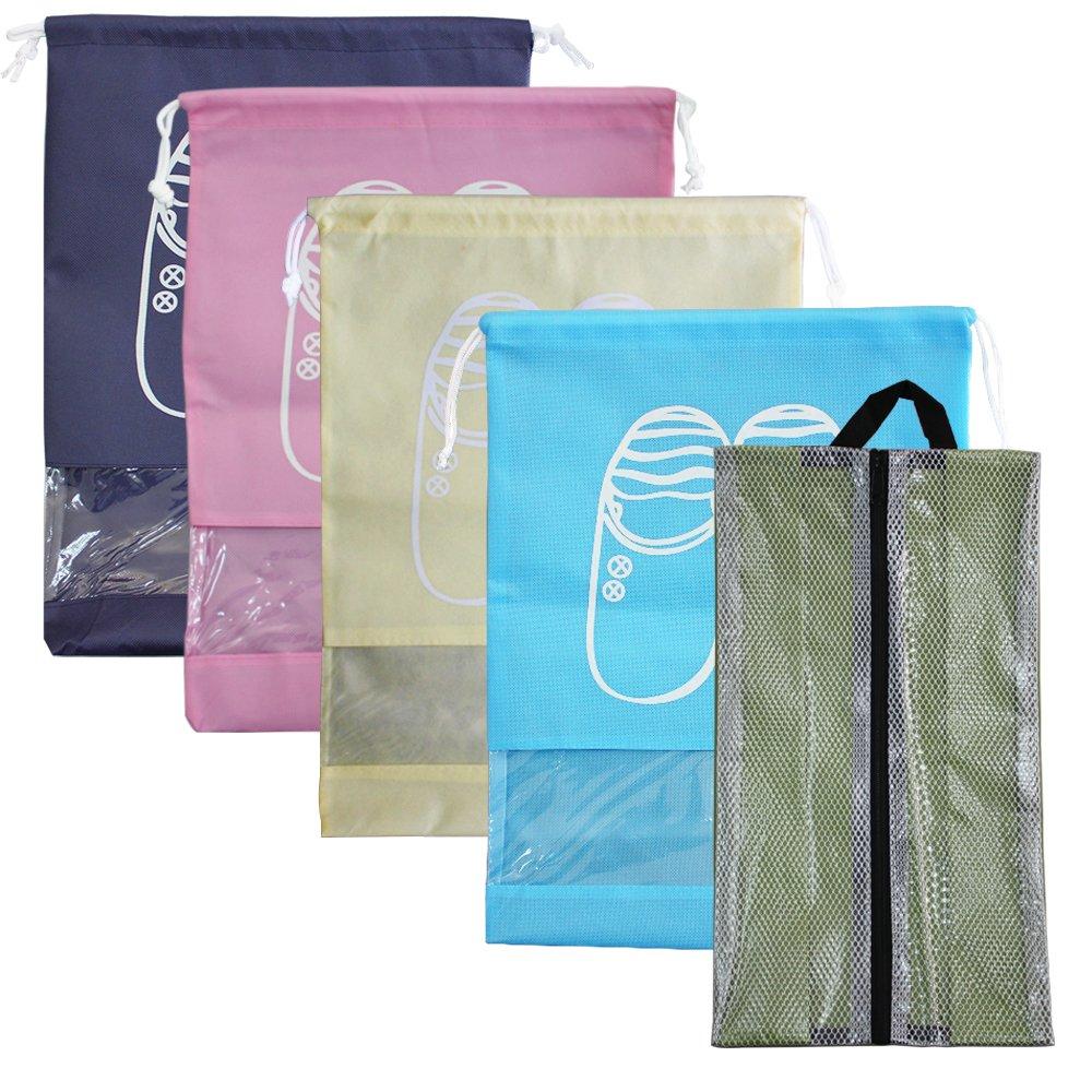 5 Pieces Travel Shoes Bags, SENHAI 4pcs Travel Sleeve Transparent Drawstring Shoe Bag Set + 1pcs Waterproof Oxford Fabric Storage Organizer with Zipper, Cosmetics/Laundry Bag