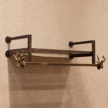 TRRE@ Perchero de madera de hierro de época Gancho para colgar en la pared Percha de ...