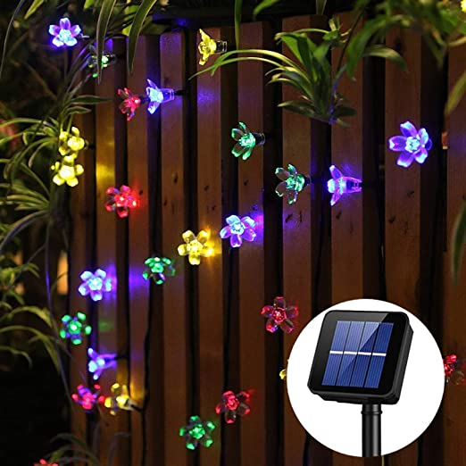 guirnalda luces exterior solar Panpany luces decorativas exterior 22 pies luces solares exterior 50 led de luz impermeable para decorar jardín, naviad de árbol, fiesta: Amazon.es: Iluminación