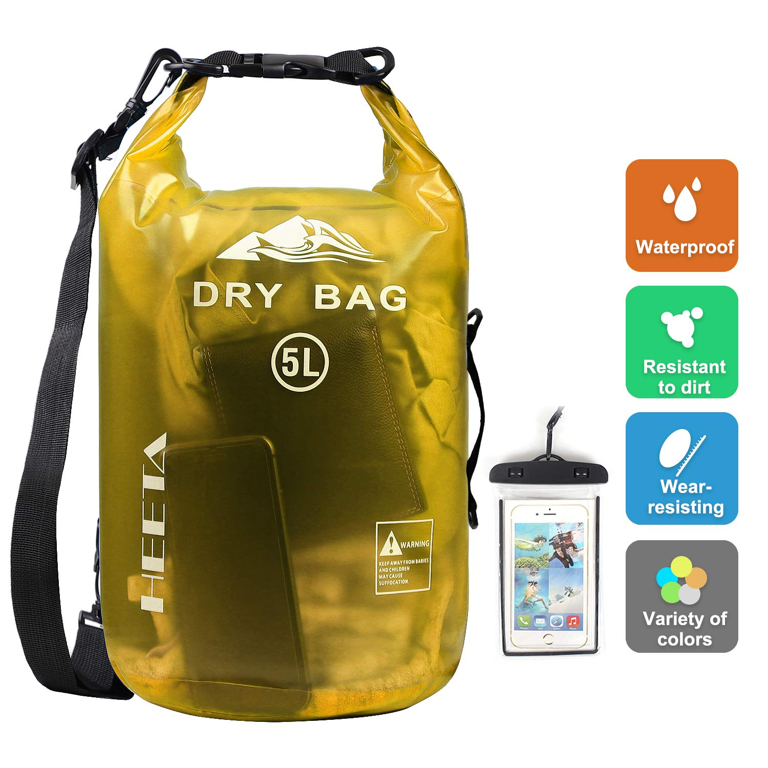 HEETA Waterproof Dry Bag for Women Men, Roll Top Lightweight Dry Storage Bag Backpack with Phone Case for Travel, Swimming, Boating, Kayaking, Camping and Beach, Transparent Yellow 5L by HEETA