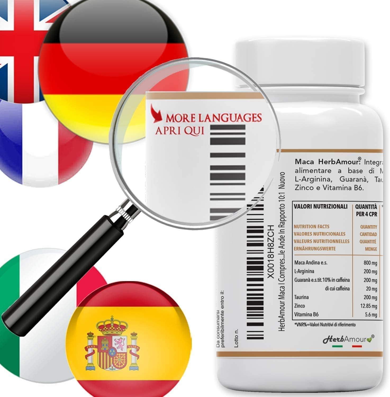 Herbamour Maca | 180 Capsulas Por 6 Meses De Alta Dosis En ES + L-Arginina + Vitamina B6 + Zinc + Taurina + Guaraná + Maca Peruana Con Extracto De ...