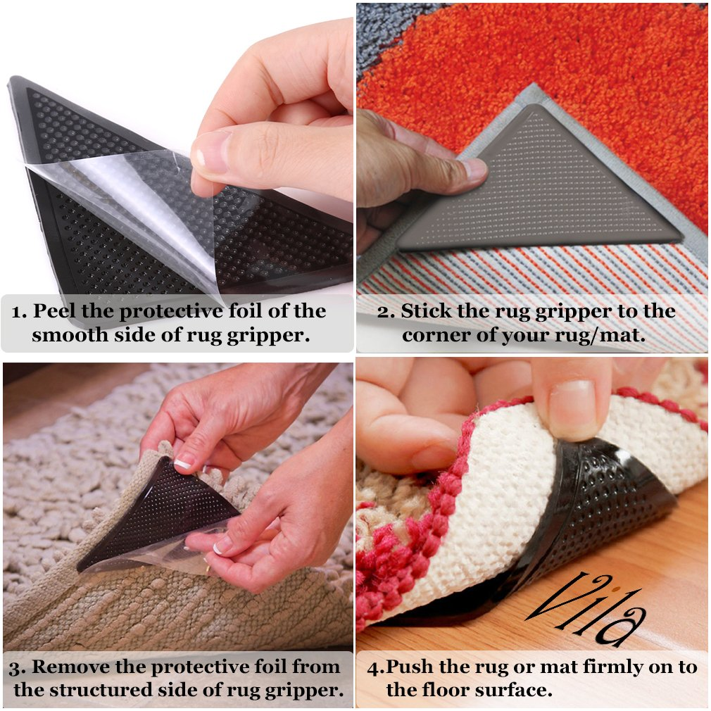 "8 pcs. Rug Gripper by Vila -- Flattens Curled rug corners - Slip-proof your floor - Easy To install, use and reuse - With ""Oil-Free"" Stick Gel that won't Damage your Floors"