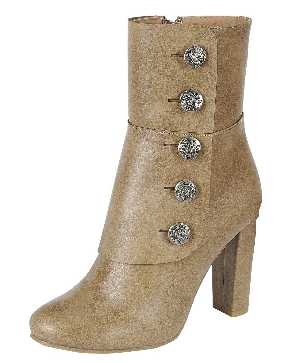 Cambridge Select Women's Steampunk Victorian Button Chunky Heel Ankle Boot (7.5 B(M) US, Taupe)