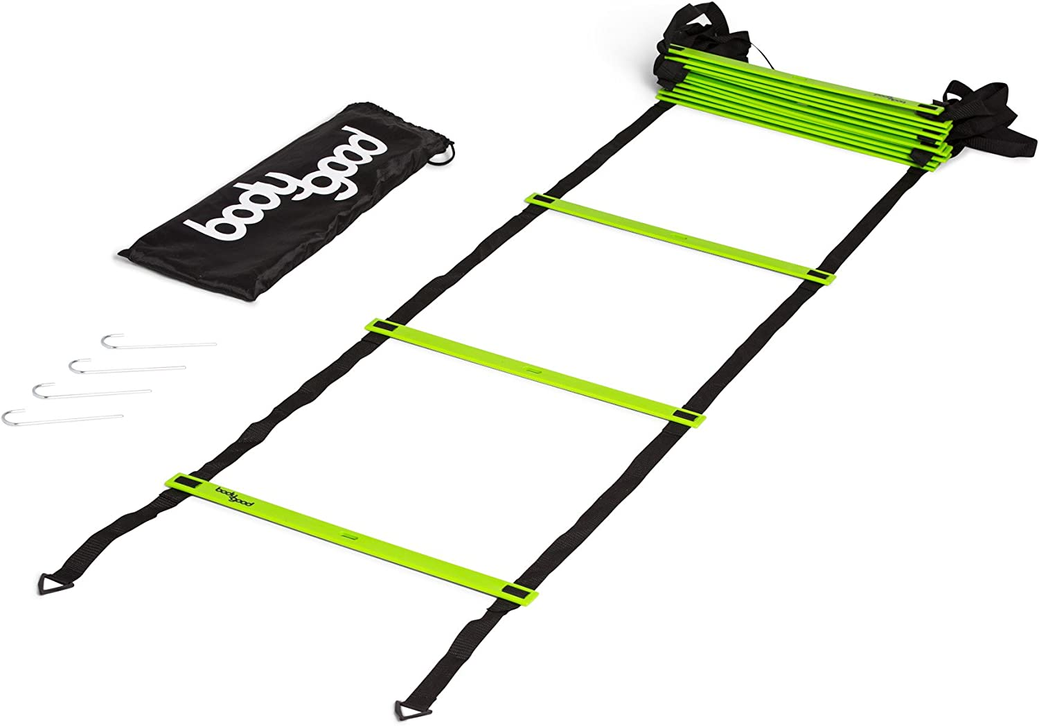 BodyGood Pro Athlete Grade Speed Agility Ladder Extra-Long, 20 Foot Quick Ladder with Durable Flat Rungs for Easy Set Up and Consistent Workout. Includes Free Carrying Bag and Online Training Video