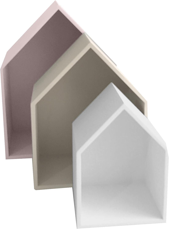37,5 x 29 x 12 cm MUEMUE Maison B4 MDF color blanco Juego de 3 estantes gris
