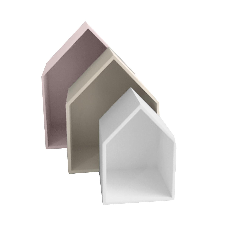 13Casa Maison B1 Set 3 Mensole, 37.5 x 29 x 12 H Cm, Rosa, Grigio, Bianco, MDF F00640303005