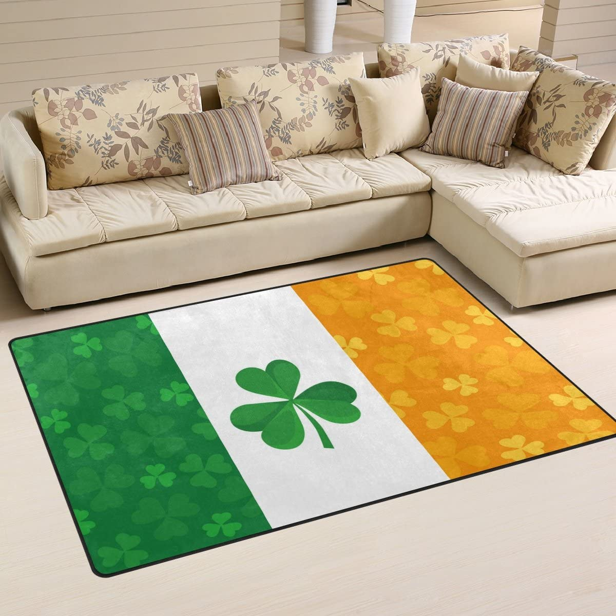 ALAZA Non-Slip Area Rugs Home Decor, Irish Flag with Shamrock Floor Mat Living Room Bedroom Carpets Doormats 60 x 39 inches
