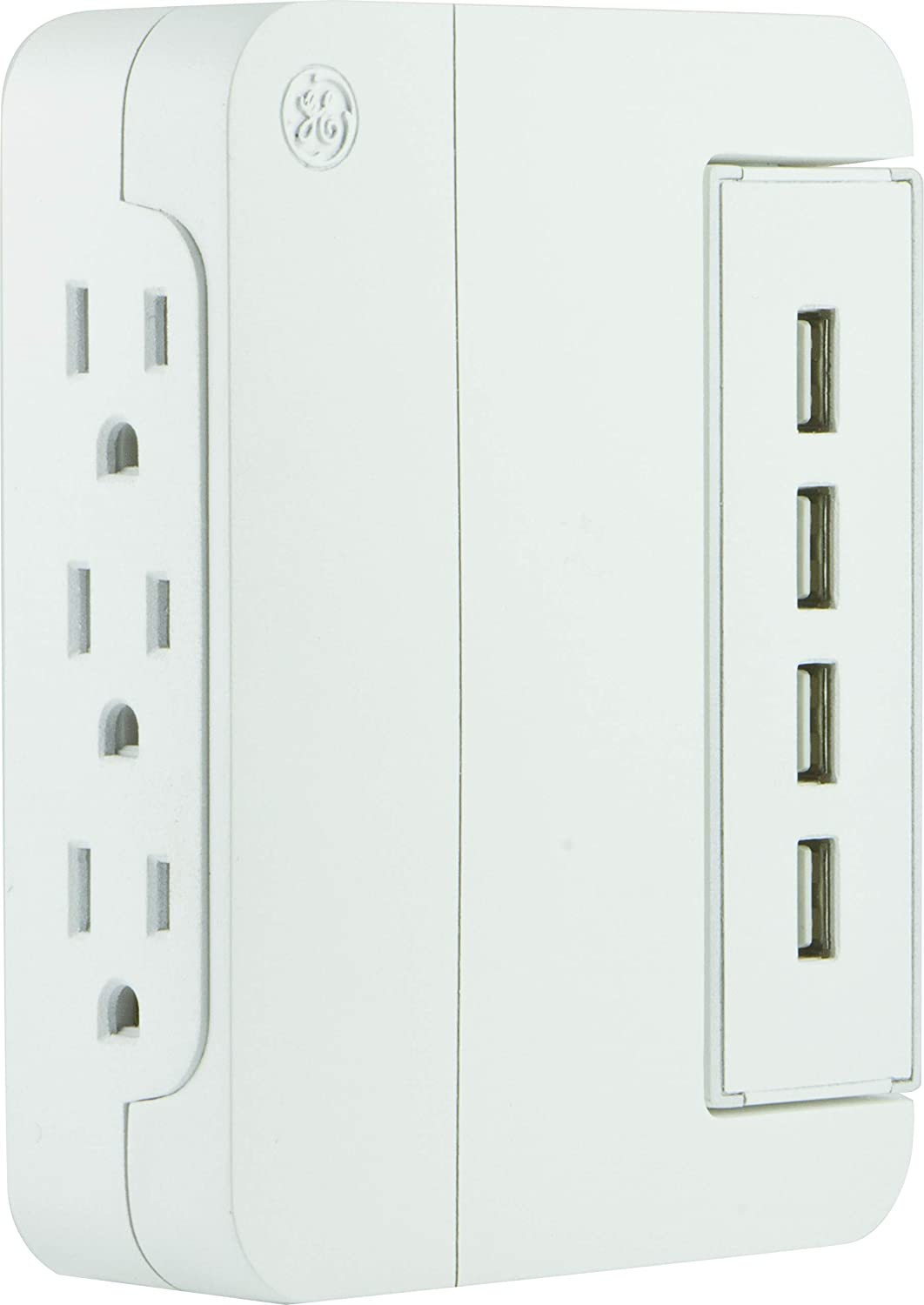 GE Ultra Pro Charging Station, 4 Adapter, 3 Wall Tap, Side Outlets, Swivel Access, 4.8A USB, White 37061