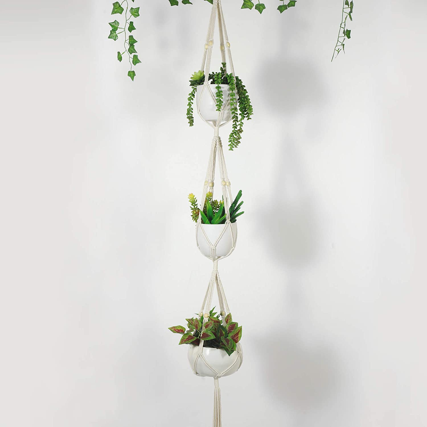 Soonow 5 Pack Macrame Plant Hangers with Hooks Different Tiers