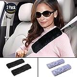 GAMPRO Car Seat Belt Cover Pad, 2-Pack Soft Faux Sheepskin Car Safety Seat Belt Strap Shoulder Pad for Adults and Children, Suitable for Car Seat Belt, Backpack, Shoulder Bag(Black)