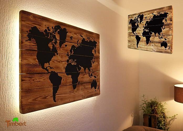 Wandtattoos Wandbilder Weltkarte Auf Holz Mit Led Beleuchtung