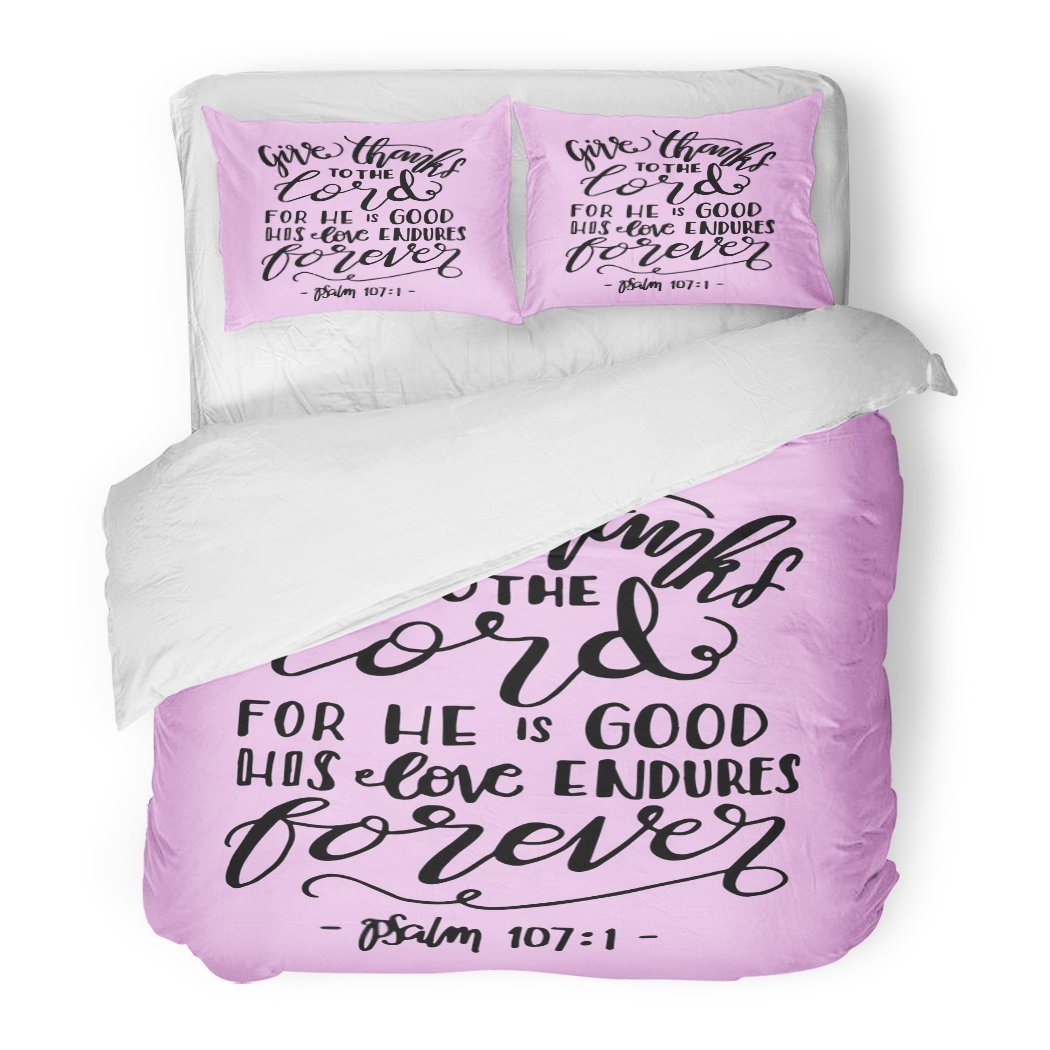 SanChic Duvet Cover Set Give Thanks to The Lord He is Good His Love Endures Forever Hand Lettered Quote Bible Verse Modern Decorative Bedding Set Pillow Sham Twin Size