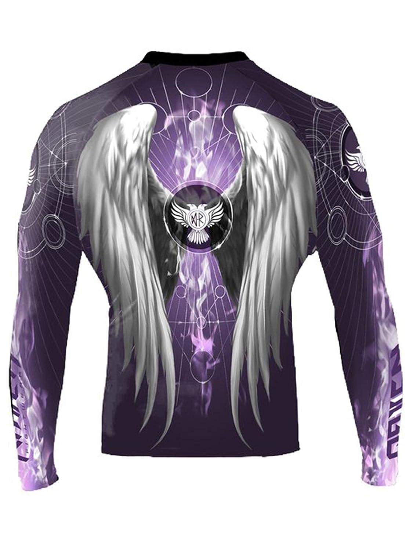 Raven Fightwear Mens Archangel Gabriel Rash Guard MMA BJJ Purple