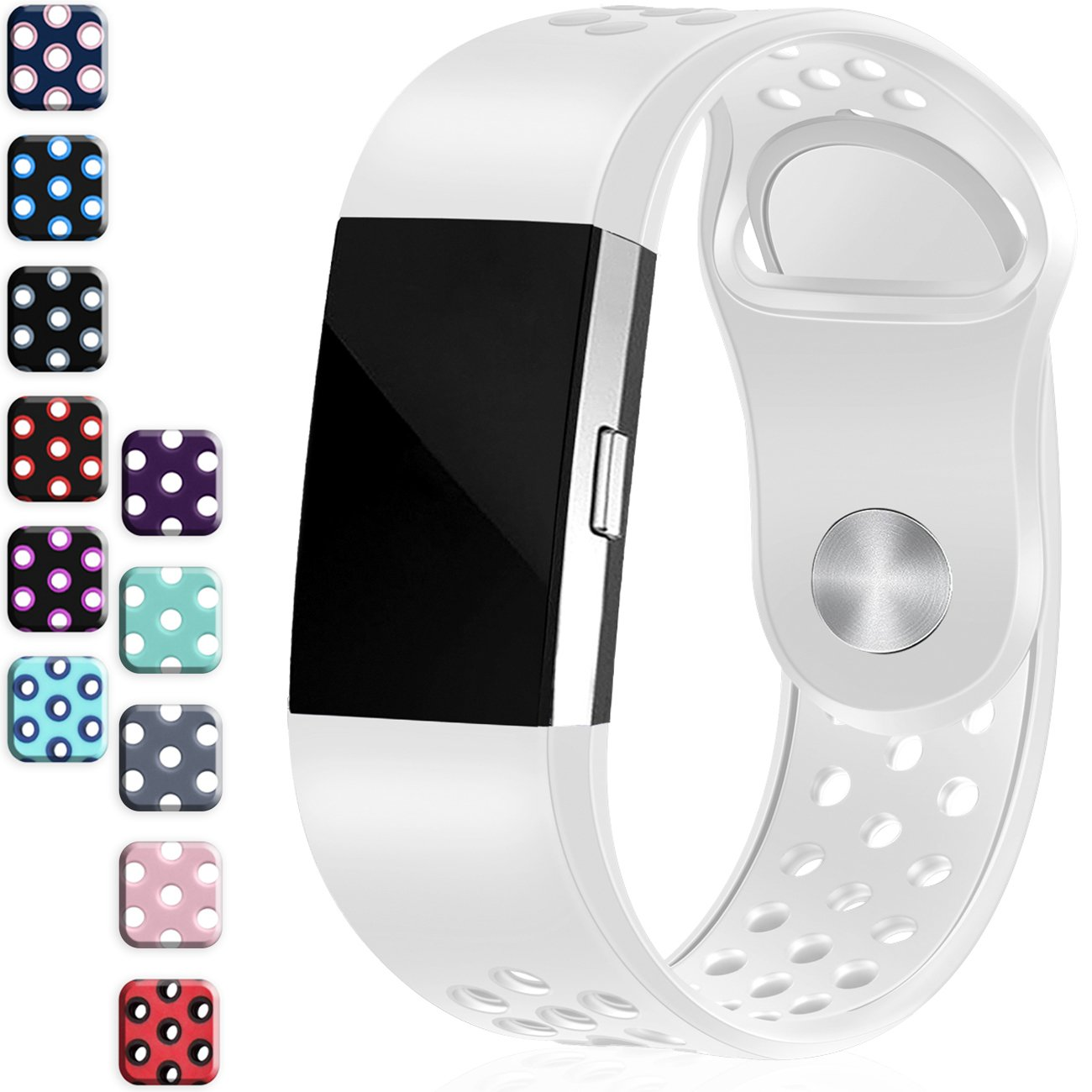 Wepro Fitbit Charge 2バンド、交換用for Fitbit Charge HR、バックル、15色、S、L 2 Large|#09-White ( with air holes ) #09-White ( with air holes ) Large B079BV7VZN