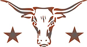 Longhorn Stencil, 12 x 6.5 inch (M) - Cow Bull Skull Texas Decorative Farm Animal Stencils for Painting Template