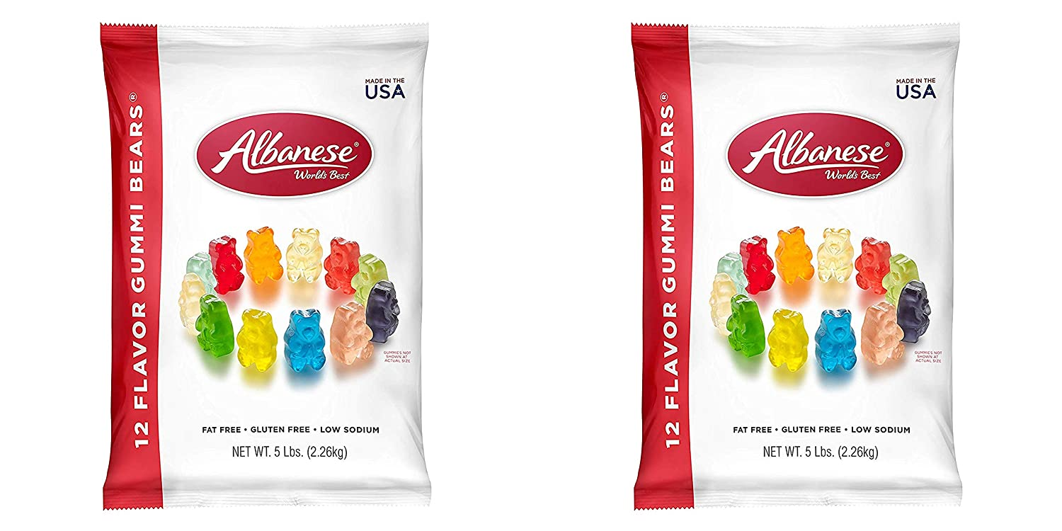 Albanese Candy 12 Flavor Gummi Bears 5 lb Bag, Assorted Gummi Bears (2 Pack)