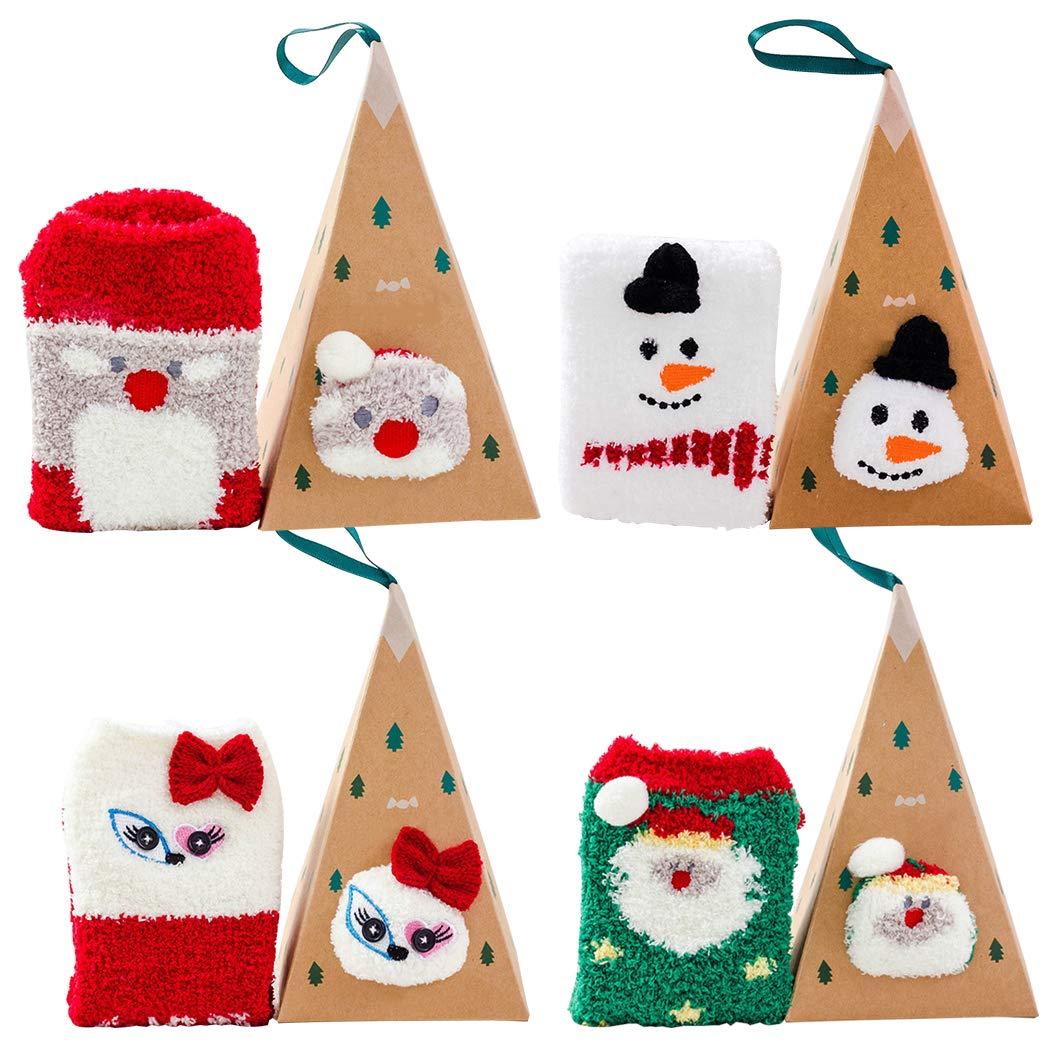 4 Pares Calcetines Navidad Mujer Santa Claus Mu/ñeco de Nieve Calcetines de Felpa C/álidos Calcetines Navidad Regalo Calcetines para Adultos C/ómodo Calcetines Bageek Calcetines de Navidad
