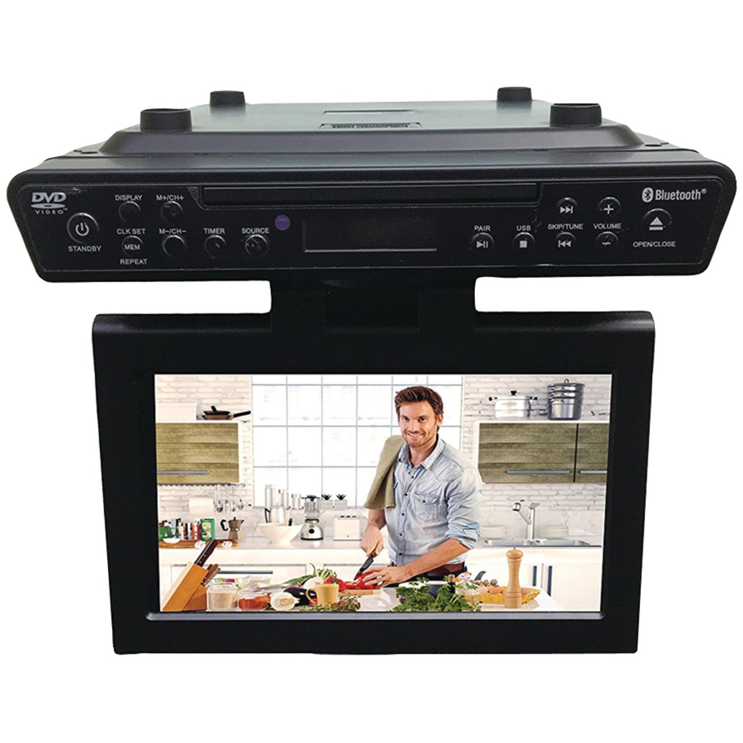 Kitchen tv under cabinet - Amazon Com Sylvania Skcr2706bt 10 2 Under Cabinet Kitchen Tv With Built In Dvd Player Hdmi Bluetooth Electronics