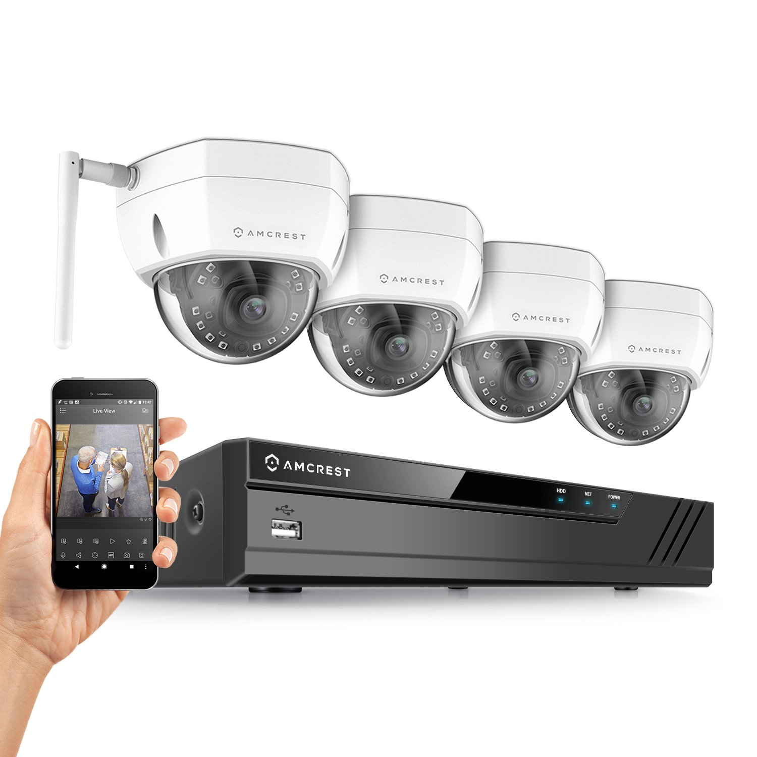 Amcrest 8CH Plug & Play H.265 4K NVR 4MP 1520P Security Camera System, (4) x 4-Megapixel 3.6mm Wide Angle Lens Weatherproof Metal Dome Wi-Fi IP Cameras, 98 Feet Night Vision (White)