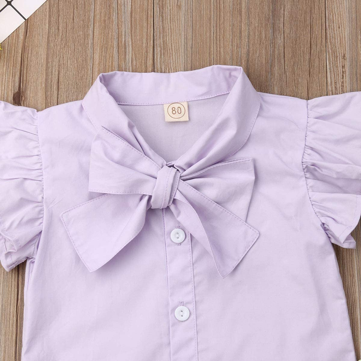Toddler Baby Girls Ruffle Bowknot Short Sleeve Top Shirt+Floral Short Jumpsuit Suspenders Overall Outfit Clothes