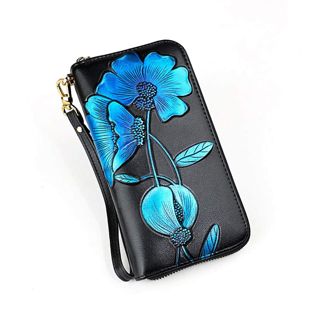bluee Women's RFID Blocking Leather Credit Card Holder Case Clutch Bag Wallet Large Ladies Wristlet Purses