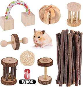 Hilitchi Guinea Pig Small Pets Toys Set Molar Natural Wooden Pine Dumbells Exercise Bell Roller Apple Sticks Pet Chew Toys Fun Pet Balls for Chinchilla Hamster Rat Birds Bunny Rabbits Gerbils