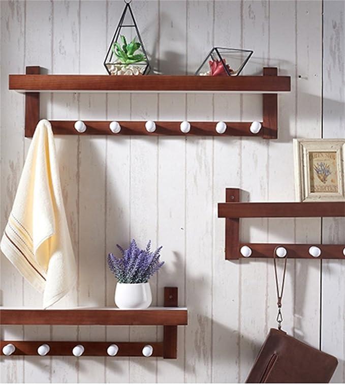 Amazon.com: Perchero de pared de madera maciza para ...