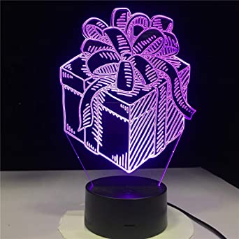 3D Luz Nocturna Caja De Regalo Lámpara Led De Noche Holiday ...