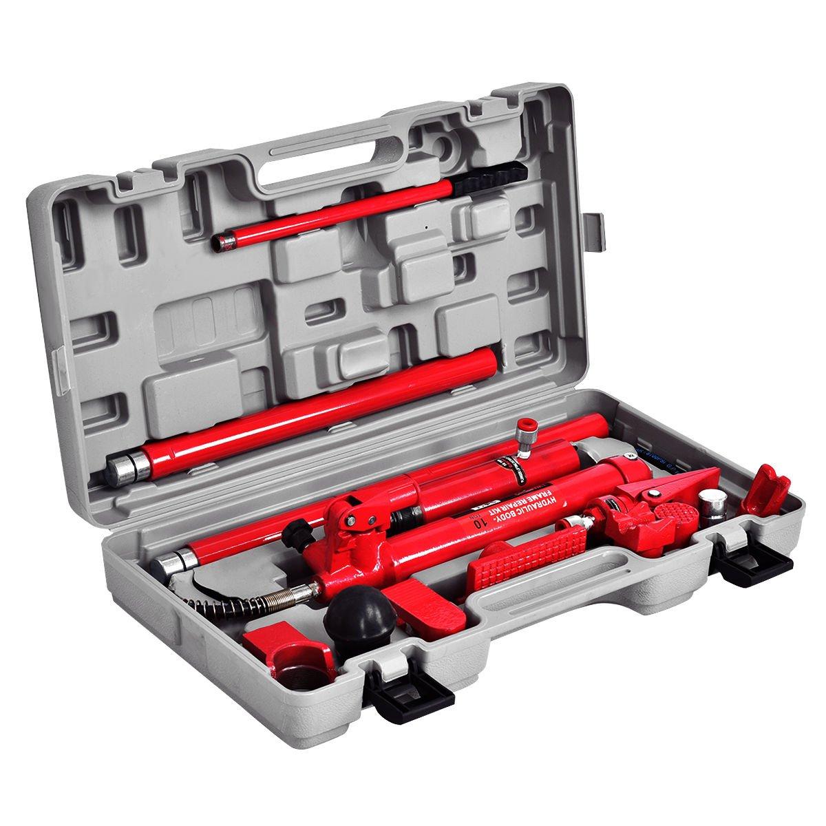 Goplus Porta Power Hydraulic Jack Auto Body Frame Repair Kit Shop Tool Lift Ram w/Carrying Case, 10 Ton Capacity