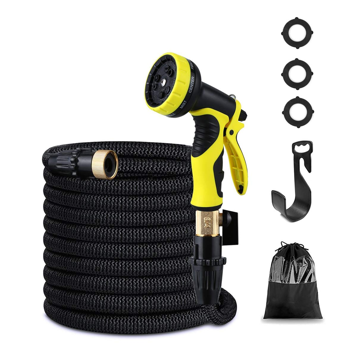 "XOOL Garden Hose 50 ft, Expanding Retractable Water Hose, Contracting Flexible Yark Outdoor Hose 9-Pattern Spray Nozzle, 3/4"" Solid Brass Fittings Double Latex Core Hose"