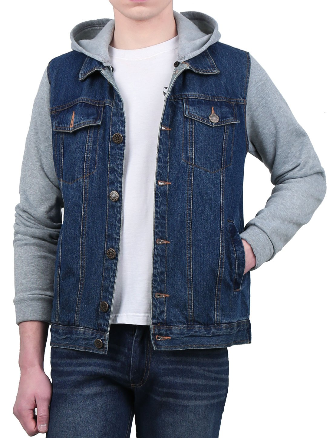 Allegra K Men Single Breasted Long Sleeves Denim Jacket w Removable Hood L Blue by uxcell
