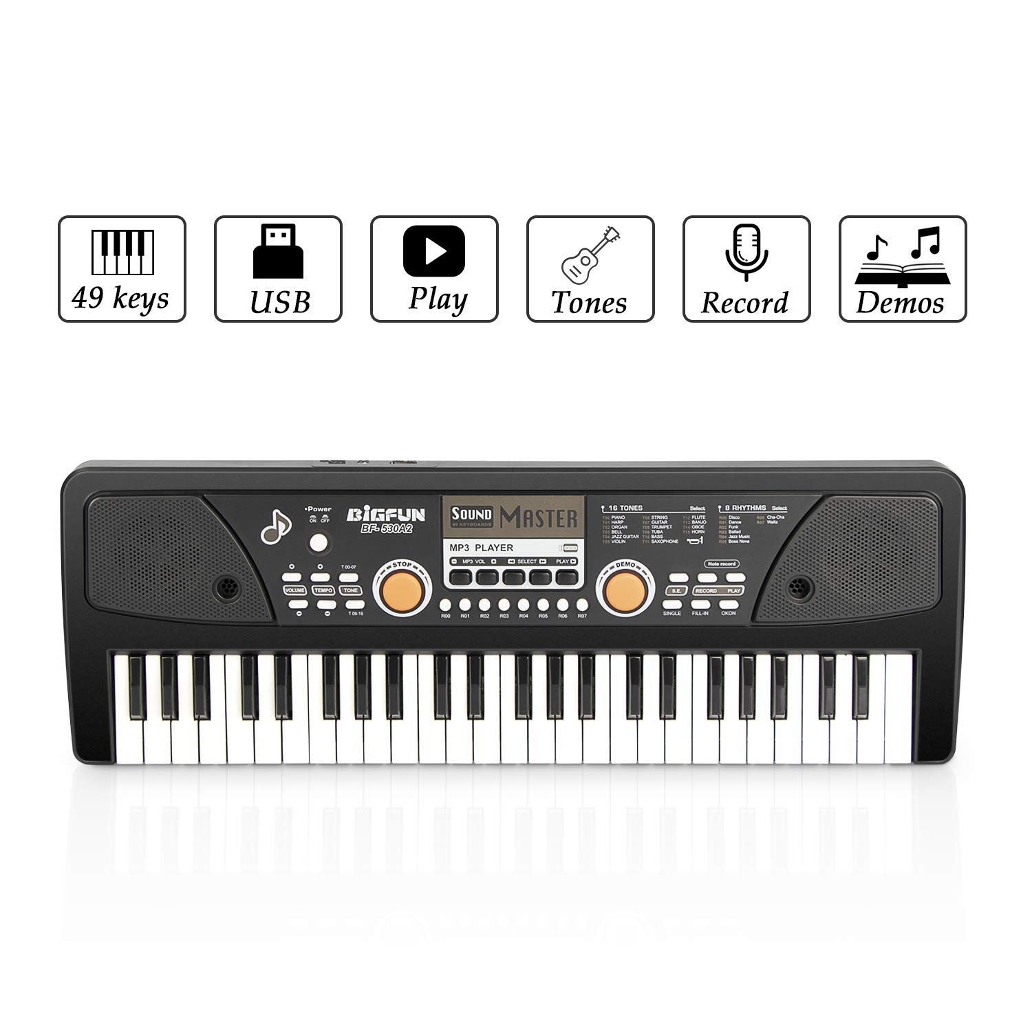 SAOCOOL Piano for Kids , 49 Keys Piano Keyboard Multifunction Electronic Kids Piano with Microphone for Kids Early Learning Educational Toy (Black) by SAOCOOL (Image #2)
